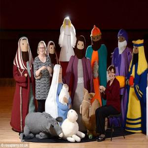 PICS : Holy Knit! Nativity scene of infant Jesus created by wool