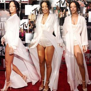 PICS : Rihanna flaunts her sexy legs in Satin Dress!