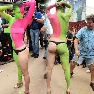 masala body painting nude in the crowd made models can be