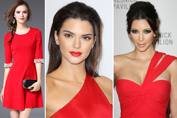 What colour lipstick goes with red dress