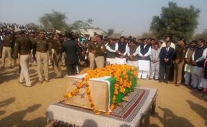 CRPF martyr Rajendra Nain funeral in churu with state honor - Churu News in Hindi