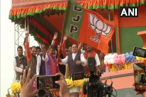 West Bengal: Jai Shri Ram slogan at JP Nadda roadshow in Malda - Malda News in Hindi