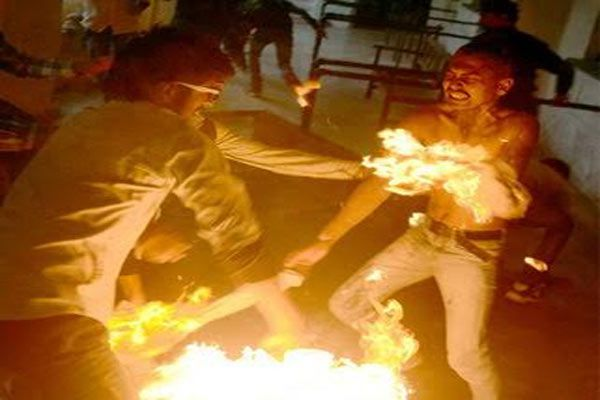 Allahabad University student self immolation occurred in front Creepy Photos - Allahabad News in Hindi