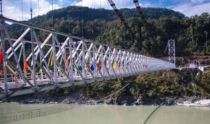 India longest single lane steel cable suspension bridge opens in Arunachal - Itanagar News in Hindi