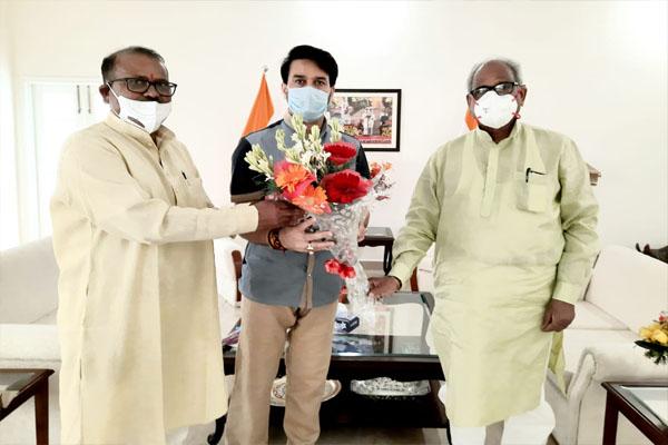 MP Kanakamal Katara meets Union Information and Broadcasting Minister Anurag Thakur - Jaipur News in Hindi