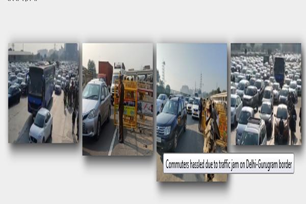 Traffic jam on Delhi-Gurugram border for hours, causing huge problems for passengers - Gurugram News in Hindi