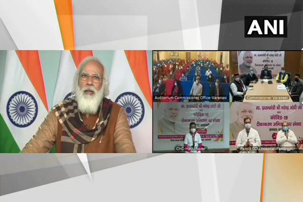 PM Modi interacts with beneficiaries of Covid vaccination campaign in Varanasi, see photos - India News in Hindi