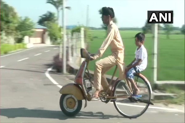 Country unique bicycle scooter, scooter from front, bicycle from back, see photos - Ludhiana News in Hindi