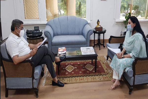 MP Diya Kumari met the Union Tourism Secretary - Jaipur News in Hindi