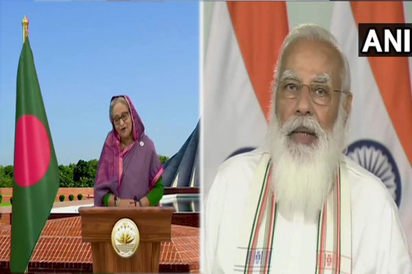 PM Modi and Bangladesh PM Hasina laid the foundation stone for the bridge connecting Tripura to Bangladesh - Delhi News in Hindi