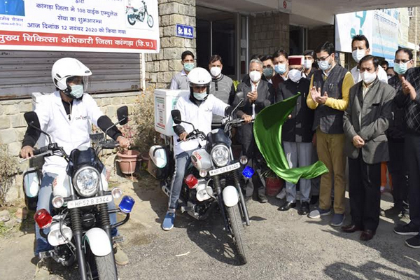 Health and Family Welfare Minister launched 108 Bike Ambulance Service - Dharamshala News in Hindi
