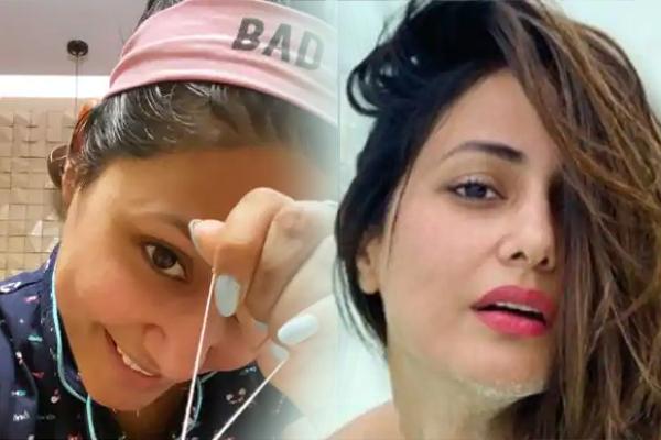 Lockdown diaries: Hina Khan does her own eyebrows at home - Television News in Hindi
