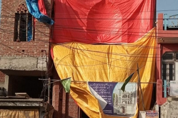 Mosques covered in Shahjahanpur for Shoe Mar Holi - Shahjahanpur News in Hindi