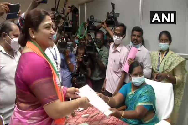 Tamil Nadu Assembly Election - BJP candidate Khushboo Sundar filed nomination - Chennai News in Hindi