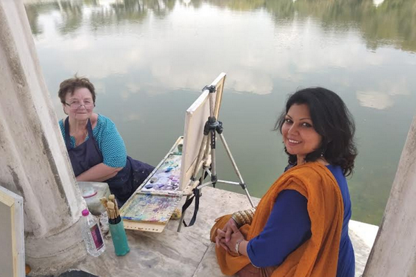 The heritage and beauty of Lake City was brought to canvas by international artists - Udaipur News in Hindi