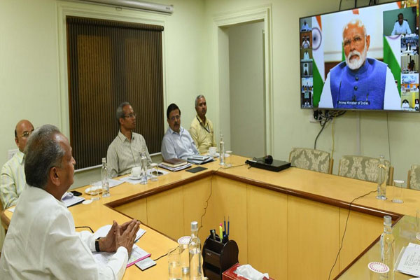 Video conferencing with PM - Gehlot demands financial help for states - Jaipur News in Hindi