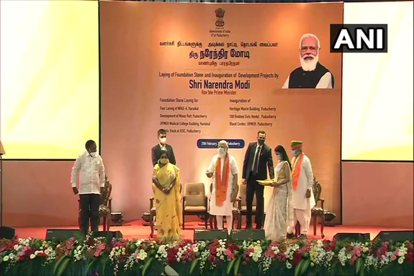 PM Modi inaugurated and laid foundation stones of various projects in Puducherry - Delhi News in Hindi