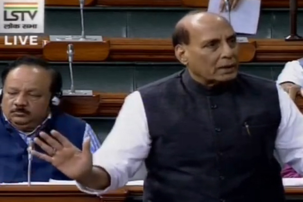 Defense Minister Rajnath Singh answering to Congress MP S Kodikunnil on Jammu and Kashmir - Delhi News in Hindi