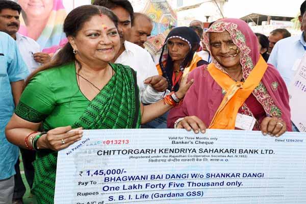 chittorgarh news : BJP government steps taken in the interest of every class : Chief Minister vasundhara raje - Chittorgarh News in Hindi