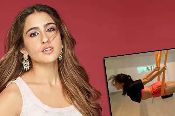 Sara Ali Khan aces aerial yoga - Bollywood News in Hindi