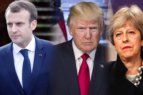Trump discusses Syrian joint action with Macron, Theresa - World News in Hindi