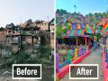 Rainbow Village in Indonesia has become an unlikely tourist attraction after a rainbow makeover