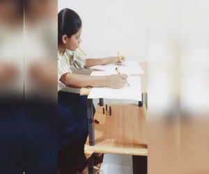 This Kerala girl draws pictures with her hands, feet and mouth - Hindi News
