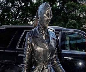 Kim Kardashian black leather suit leaves fans in the dark - Hindi News